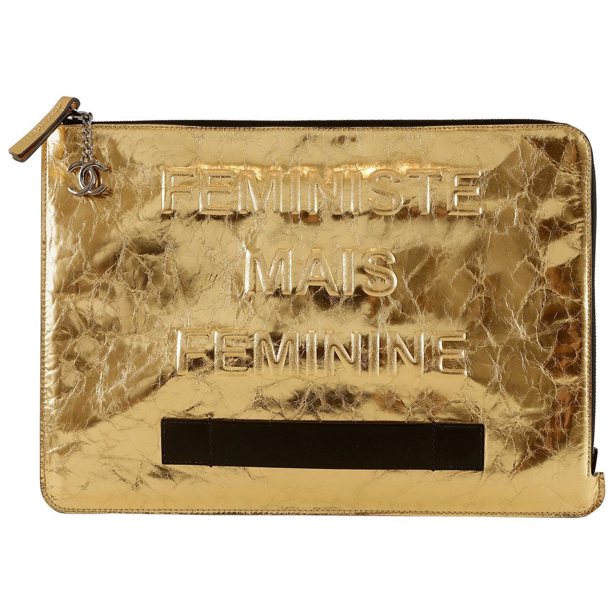 Chanel Gold Metallic Leather Feministe Small Folio Clutch
