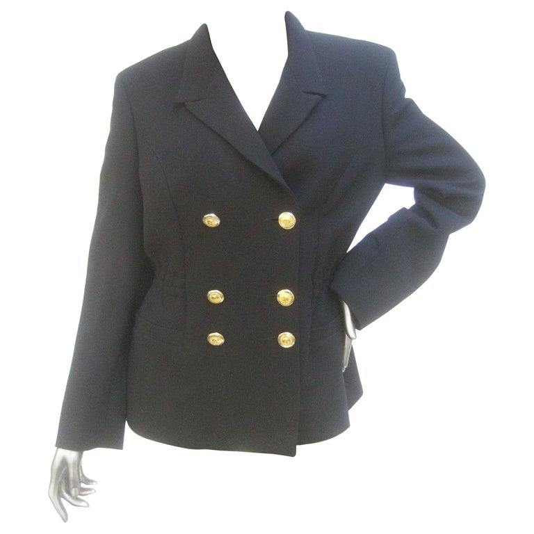 Versace Versus Black Wool Military Style Jacket Circa 1990s For Sale