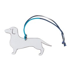 0743566fe851 Hermes Petit h Dog Bi-Color Bag Charm Dachshund White   Etoupe