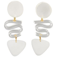 Harriet Bauknight for Kaso Oversized Frosted White Lucite Dangle Clip Earrings