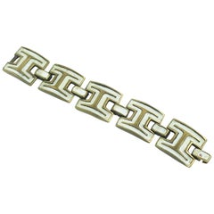 French Designer St Luc 1960s Modernist Bronze and White Enamel Link Bracelet