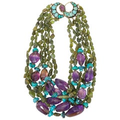 Iradj Moini Amethyst, Turquoise, and Peridot Necklace