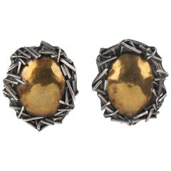 Margaret Ellis Sterling Silver and Bronze Brutalist Clip on Earrings