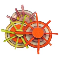 Fabrice Paris Large Multicolor Resin Talosel Wheel Brooch Pin