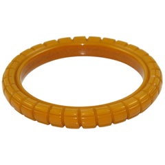 Bakelite Geometric Deeply Carved Bracelet Bangle Warm Butterscotch Color