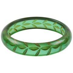 Bakelite Bangle Bracelet Transparent Prystal Emerald Green Reverse Carved Leaf