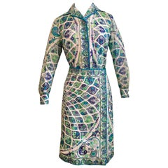 Emilio Pucci Green, Lavender, Blue and Purple Cotton Blouse and Skirt Set 1960s