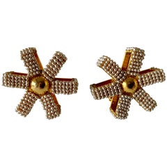 Vintage Architectural Gold Wheel Pearl Statement Earrings