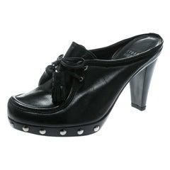 Stuart Weitzman Black Leather Fringe Bow Slip On Loafer Mules Size 36.5