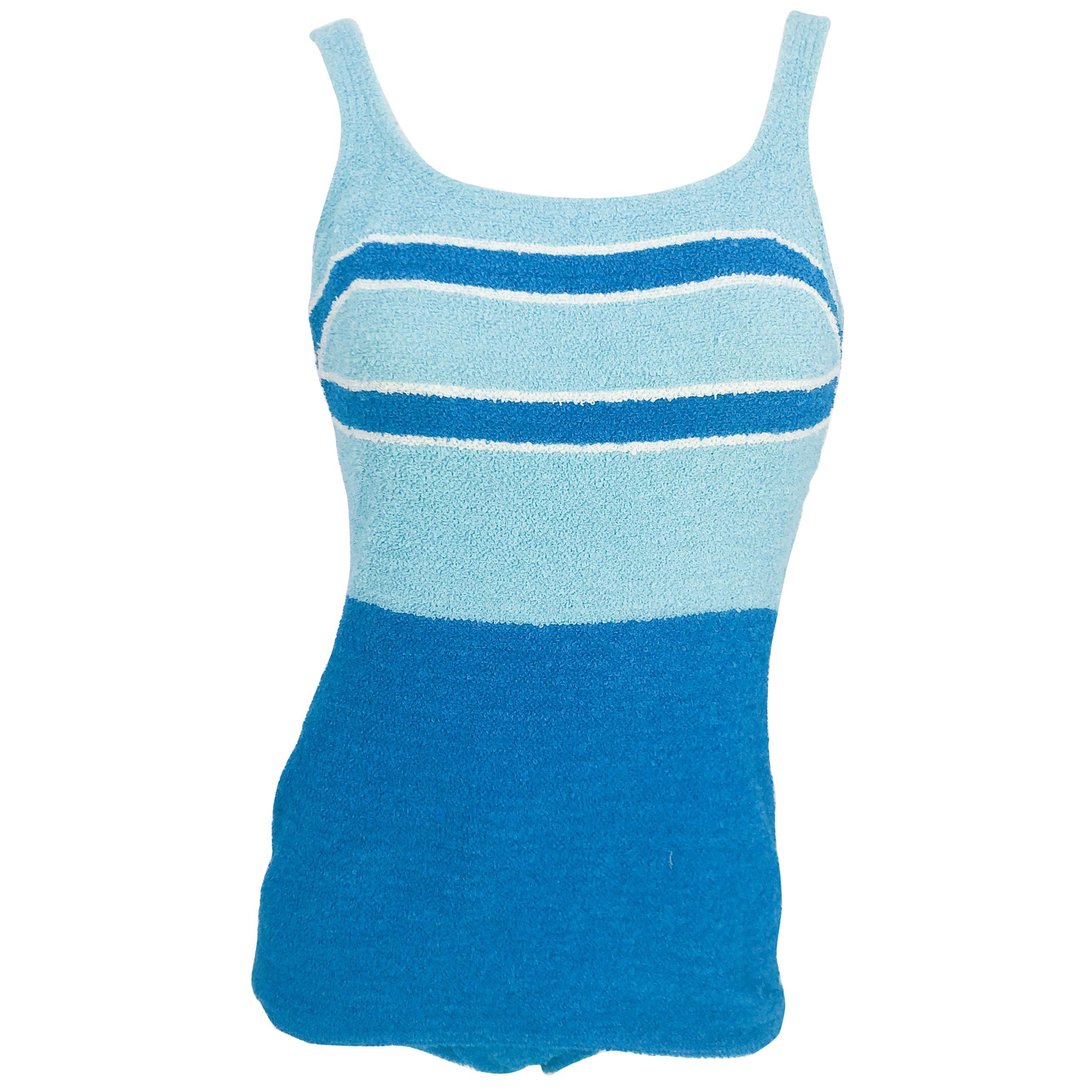1950s Aqua and Light Blue Terry Cloth Swimsuit