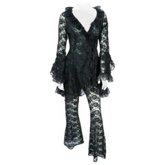 1970s Black Lace Two-Piece Set With Ruffle Accents
