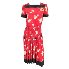 1980s Nipon Red Printed Dress With Impressionist Pattern