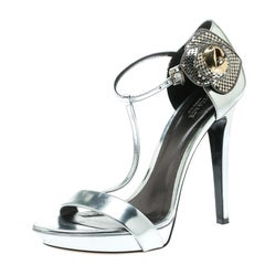 Versace Metallic Silver Patent Leather Flower Detail T Strap Sandals Size 40
