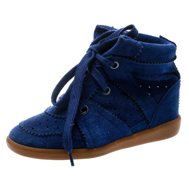 ca26c722acab5 Isabel Marant Blue Suede Bobby Lace Up Wedge Sneakers Size 36 For Sale at  1stdibs