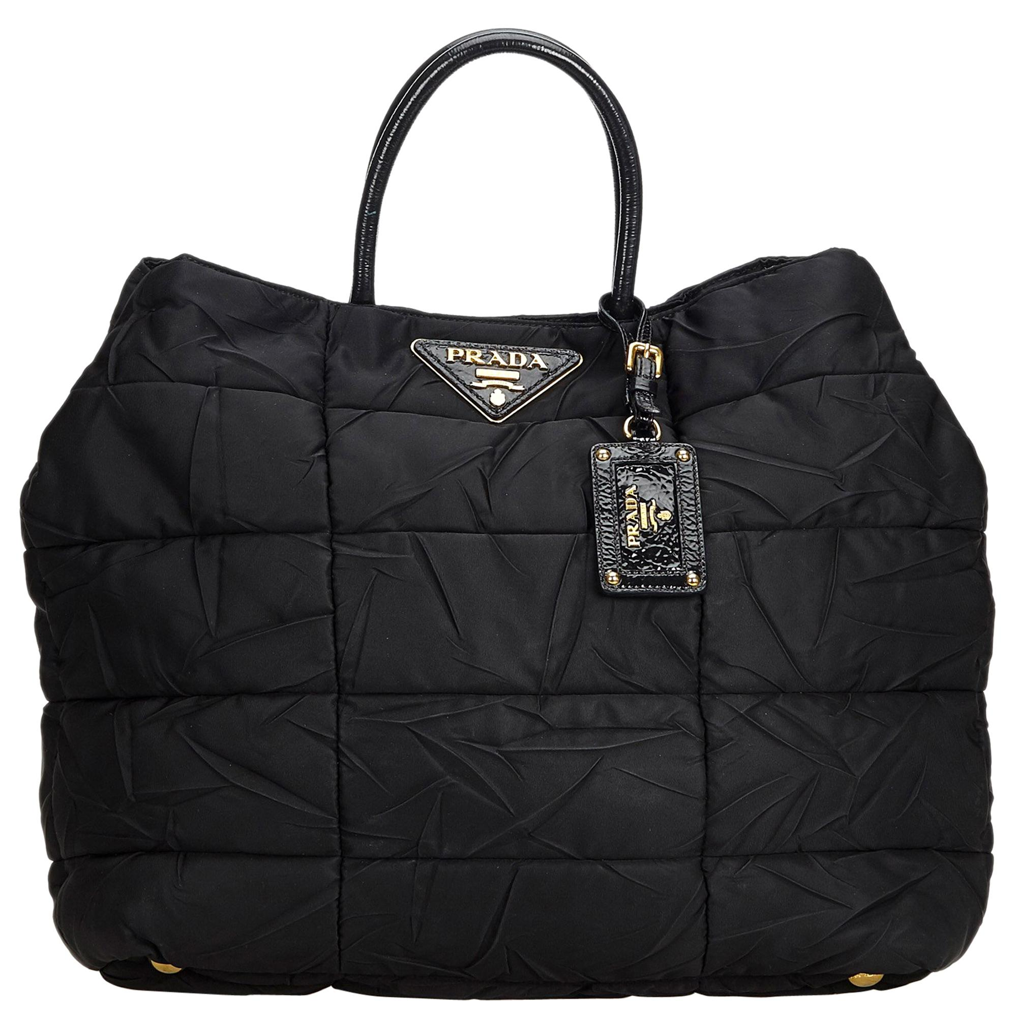 aa858baec98 Prada Black Nylon Fabric Quilted Tote Bag Italy For Sale at 1stdibs