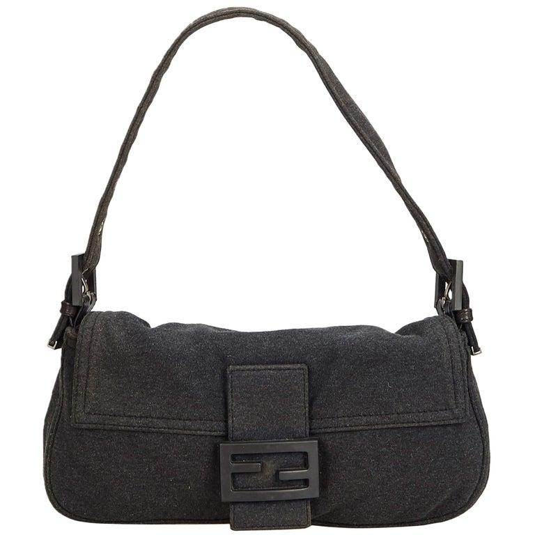 3c64fd137818 Fendi Black Cotton Fabric Mamma Baguette Italy w  Dust Bag at 1stdibs