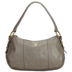 Prada Gray Dark Gray Leather Shoulder Bag Italy