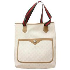 GUCCI Sherry Supreme Shopper 868461 White Coated Canvas Tote