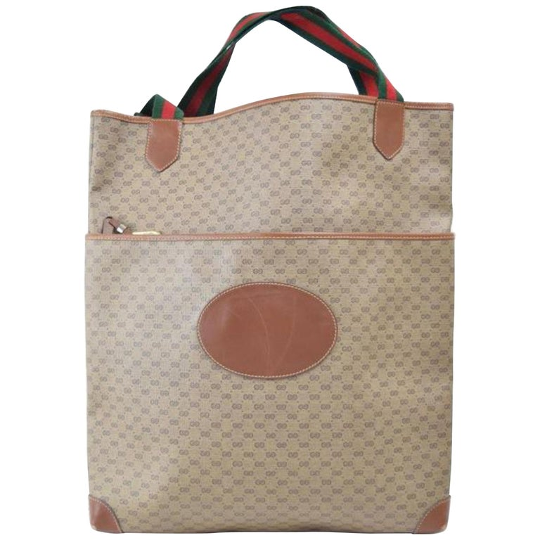 764b7c7b1cec19 Gucci Web Microguccissima Large Shopper 867964 Brown Coated Canvas Tote For  Sale