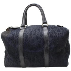 Dior Monogram Trotteur Bosotn 867747 Black Suede Leather Satchel