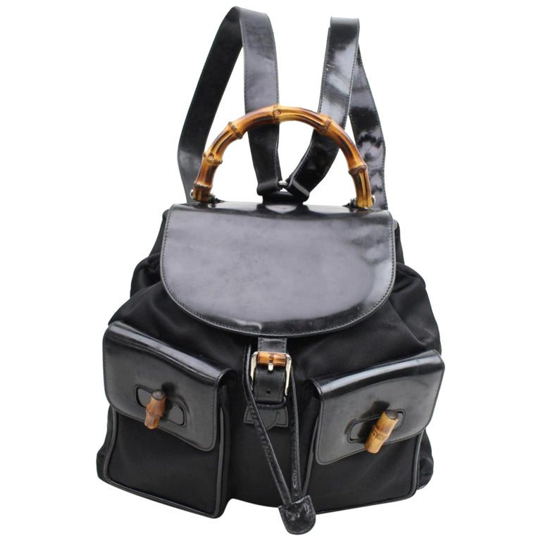 06ef4b6534e9 Gucci Nylon Bamboo 867648 Black Patent Leather Backpack For Sale at ...