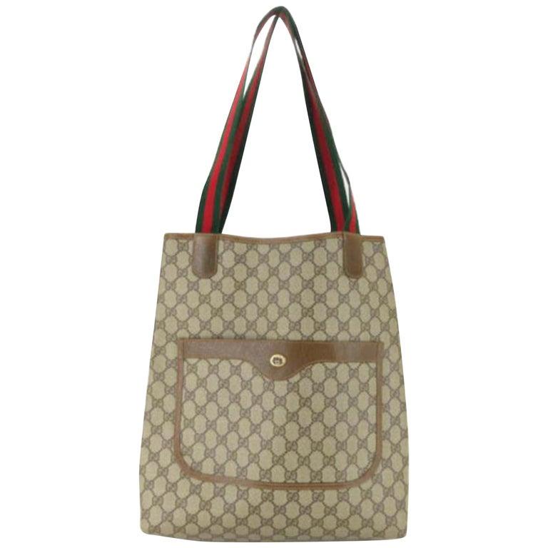 c0fe3e5447e57f Gucci Supreme Monogram Large Web Shopping 867668 Brown Coated Canvas Tote  For Sale