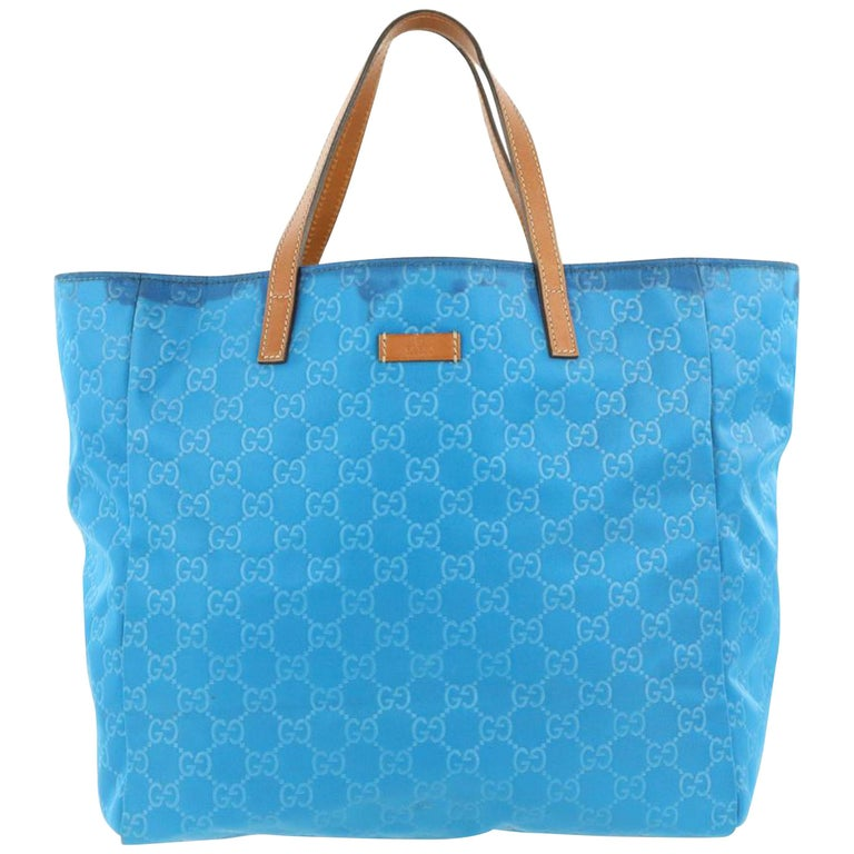 2eb314feb94d Gucci Shopping Blue Canvas Tote 867355 For Sale at 1stdibs