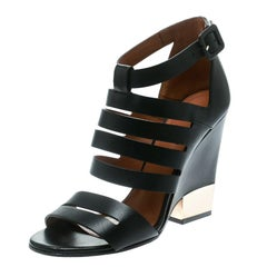 Givenchy Black Leather Wedge Sandals Size 35.5