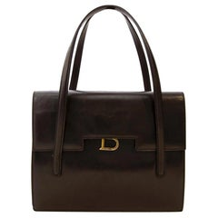 Delvaux Brown Box Calf Leather Shoulder Bag