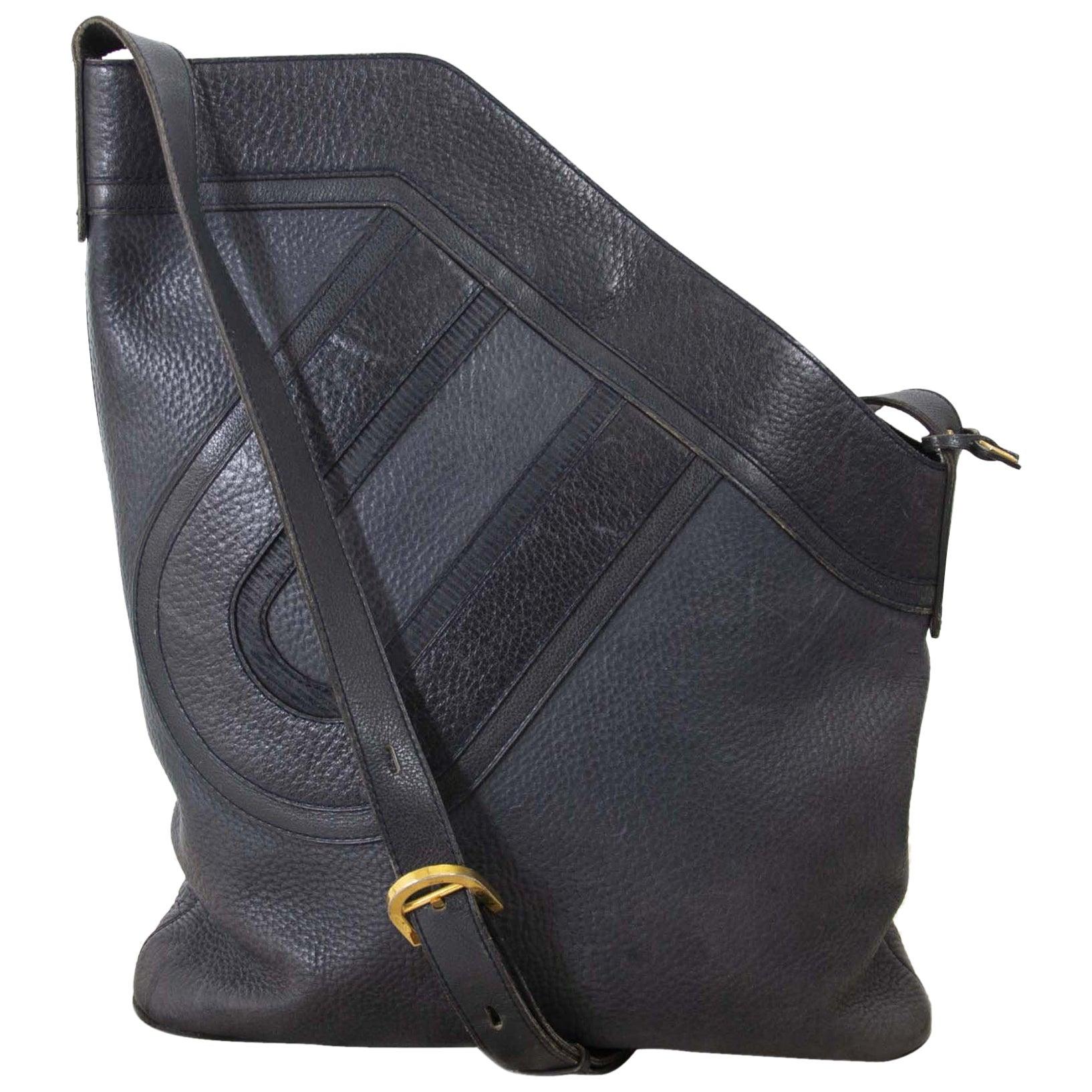 Delvaux Dark Blue 'D' Shoulder Bag