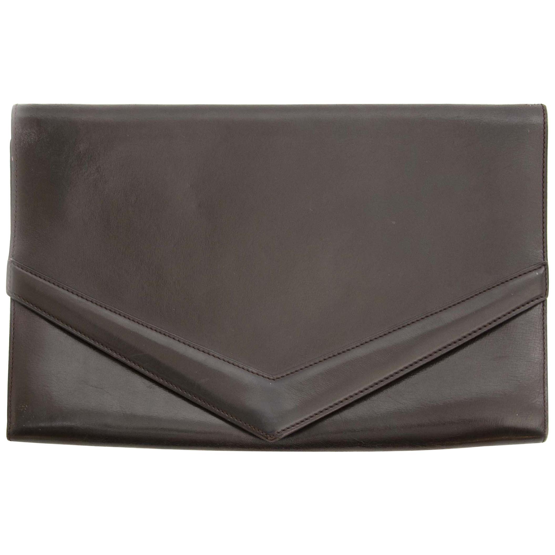 Delvaux Dark Brown Leather Clutch