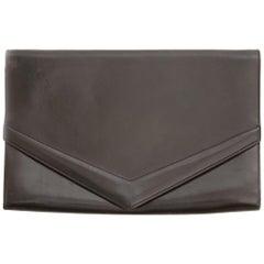 Delvaux Dark Brown Leather Clutch
