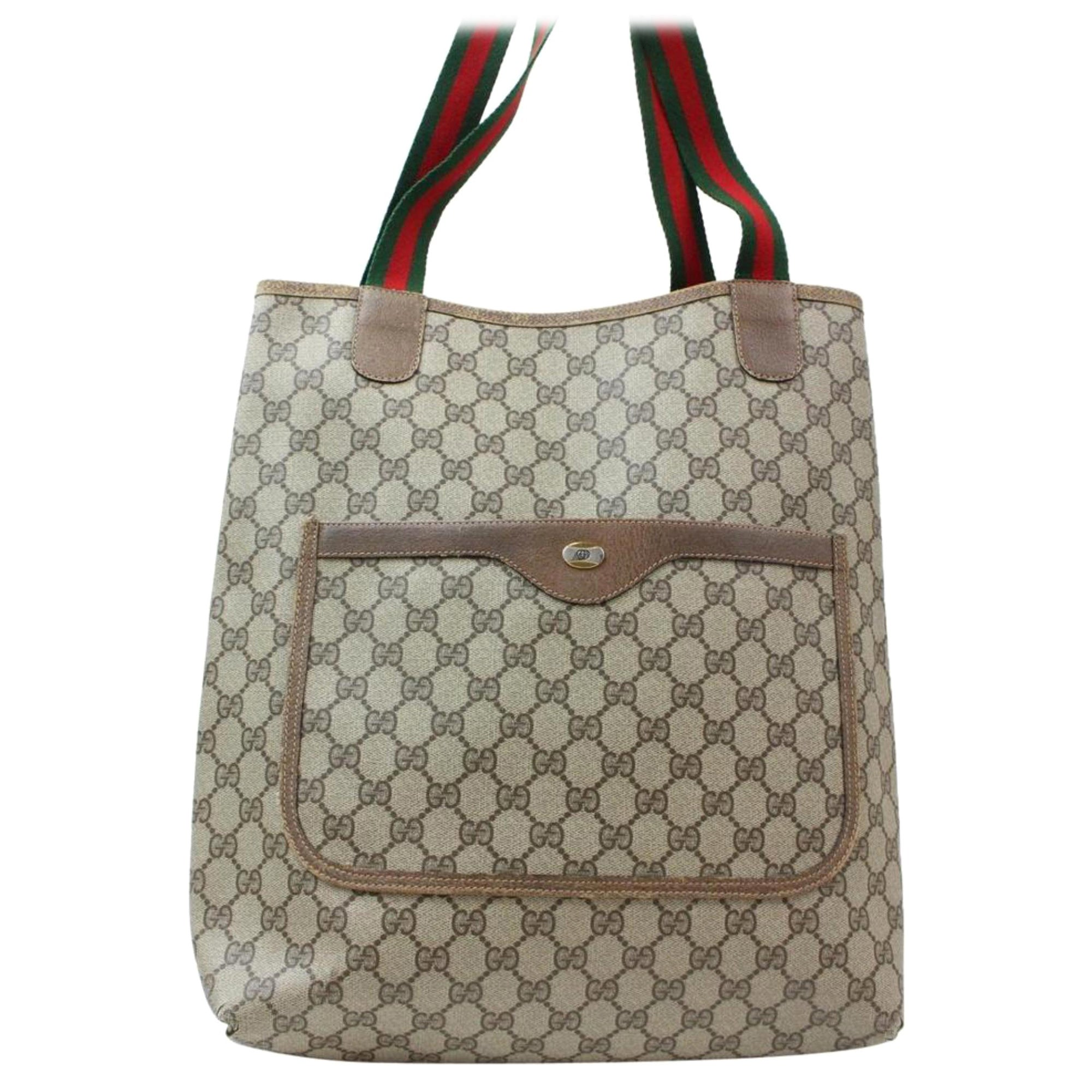 bbea8c4df3b1 Gucci Sherry Monogram Web Large Shopping 869413 Brown Coated Canvas Tote  For Sale at 1stdibs