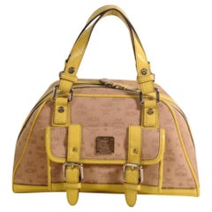 MCM Monogram Visetos Dome Satchel 869450 Yellow Canvas Shoulder Bag