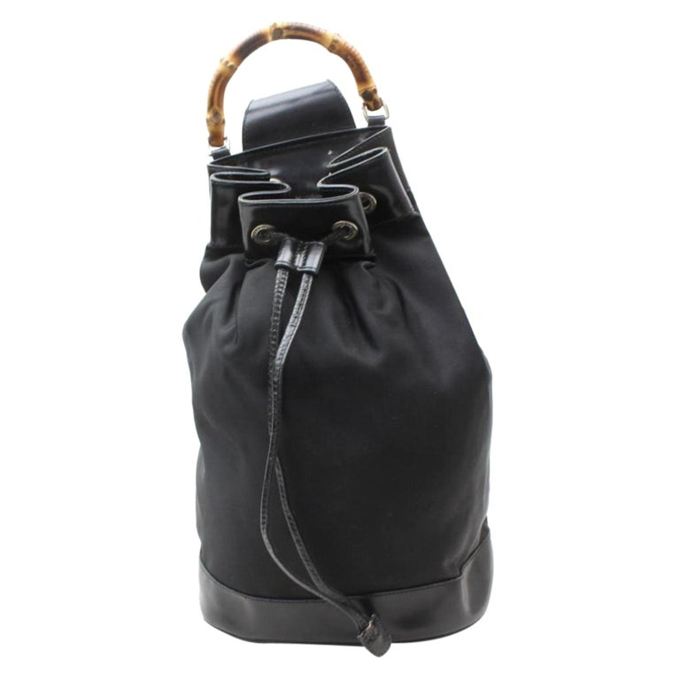 a0dc1a7e358cd HomeFashionHandbags and PursesShoulder Bags. Gucci Bamboo Drawstring Bucket  Sling Backpack 869292 Black Nylon Shoulder Bag For Sale