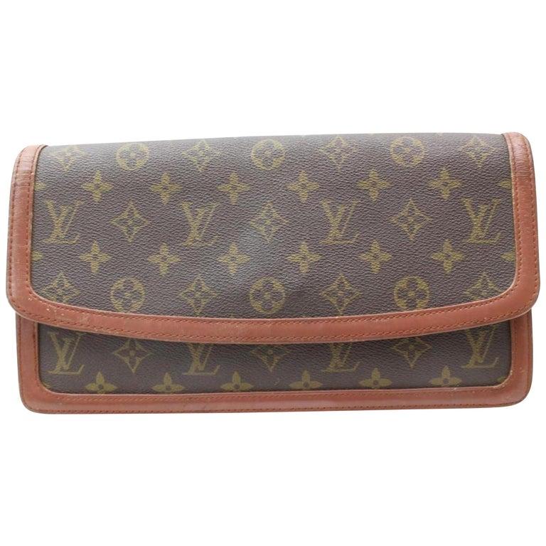 643916567046 Louis Vuitton Pochette Dame Gm Envelope 869290 Brown Coated Canvas Clutch  For Sale
