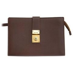 Delvaux Dark Brown Leather Pochette