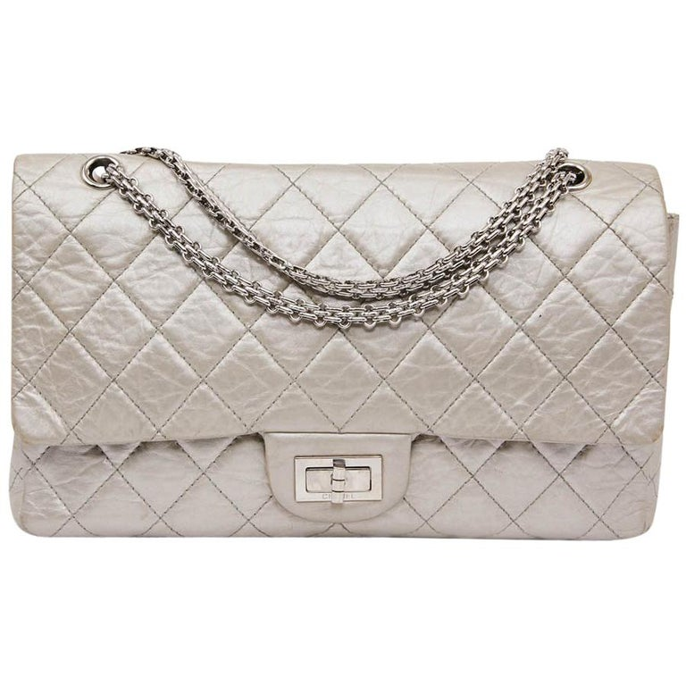 7b2abe15feb0 CHANEL 2.55 Double Flap Bag in Quilted Silver Crumpled Leather For Sale