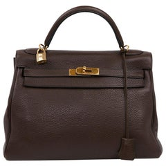HERMES Kelly II in Brown Taurillon Clémence Leather