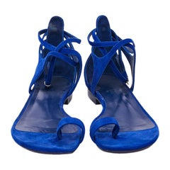 HERMES Electric Blue Suede Leather Sandals Size 37.5FR