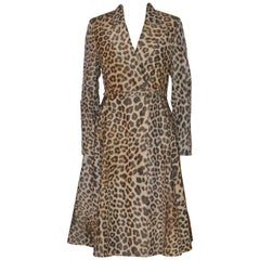 Christian Dior Coat Jacket Light Wool Mix Leopard Print