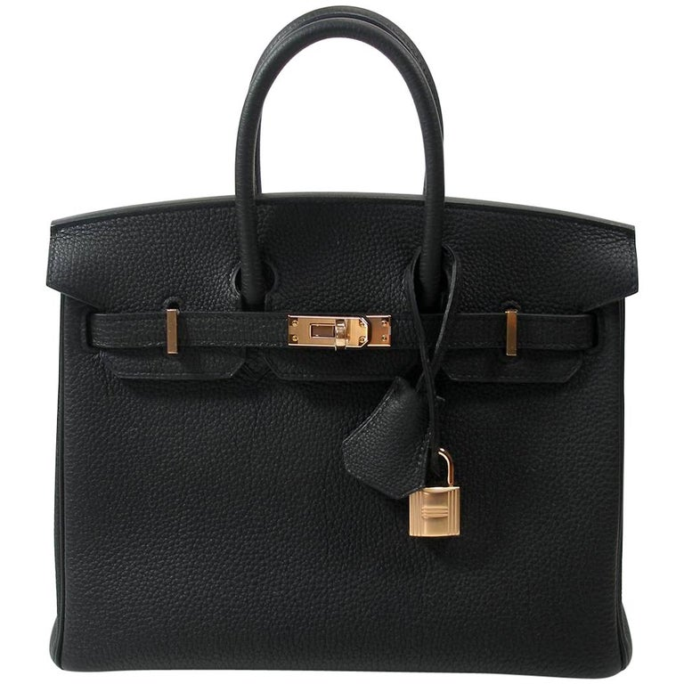 Hermes Birkin 25cm Black Togo Permabrass Hardware Year 2019 / BRAND NEW For Sale