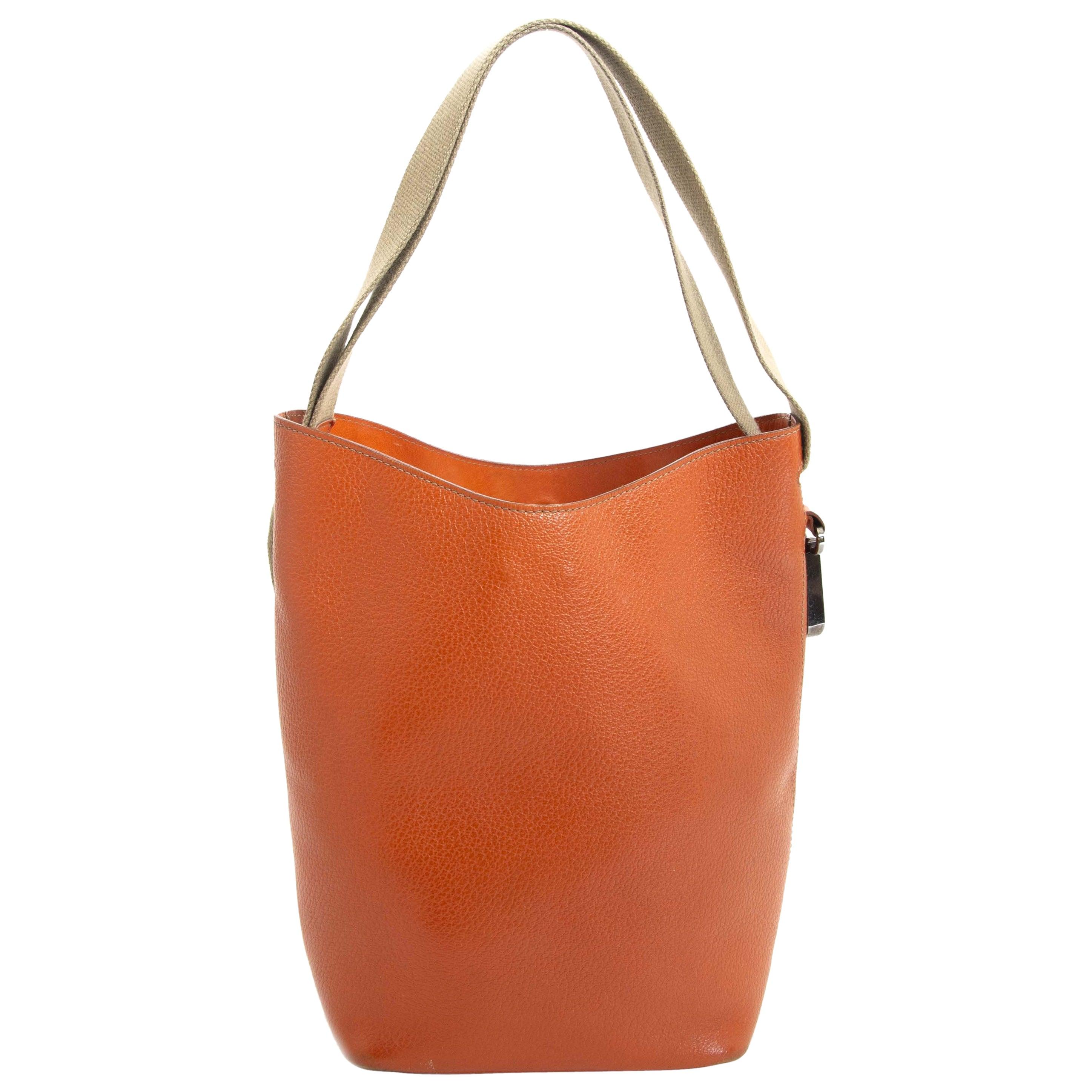 Deux De Delvaux Orange Bucket Bag