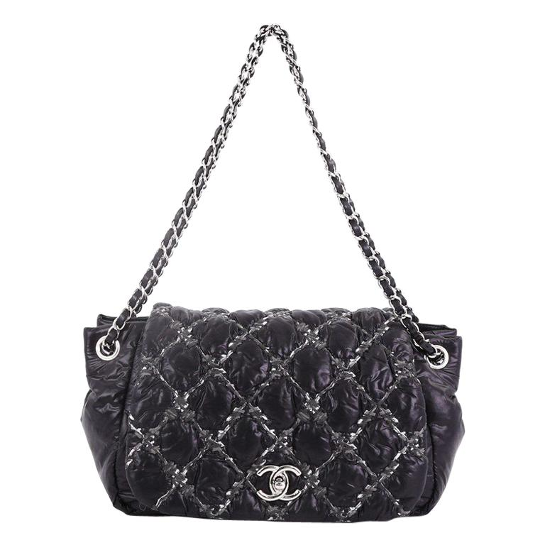 af2d679681a259 Chanel Tweed On Stitch Bubble Accordion Flap Bag Quilted Nylon Medium For  Sale at 1stdibs