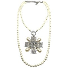Chanel Pearl with Rhinestone Medallion Pendant Necklace