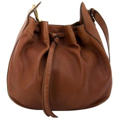 Delvaux Brown Leather Drawstring Tote