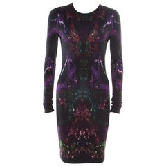 Alexander McQueen Aubergine Moth Printed Jersey Bodycon Dress M