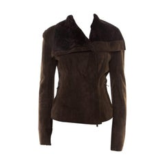 Lanvin Chocolate Brown Lambskin Leather Shearling Lined Biker Jacket M