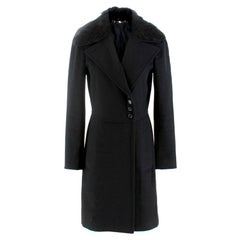 Gucci Black Coat with Nutria Fur Collar US 4