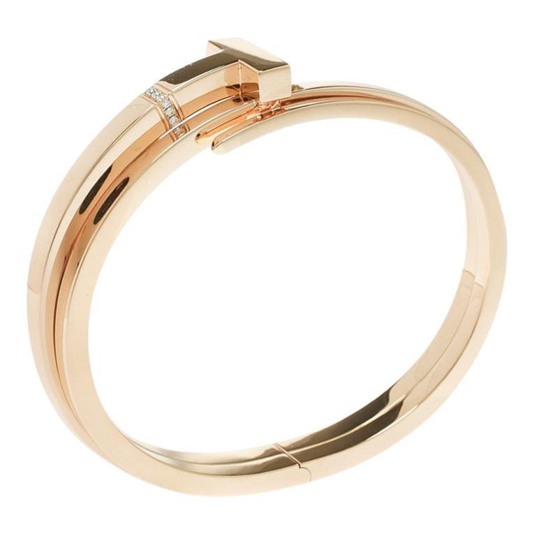 e0a4bc306 Tiffany & Co. Tiffany T Square Wrap Diamond & 18k Rose Gold Cuff Bracelet  For